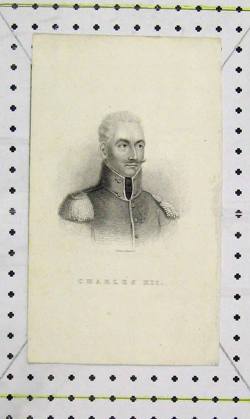 Print Portrait King Charles Xii Illman Pilbrow 118B226 Old Original