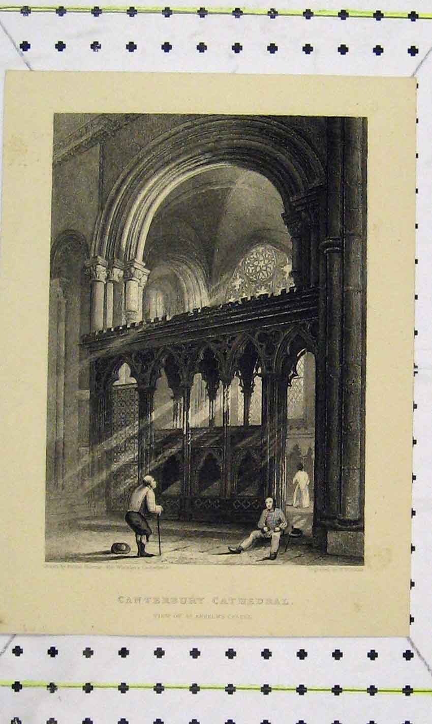 Print Winkles View Canterbury Cathedral Anselm Chapel 126Ab226 Old Original