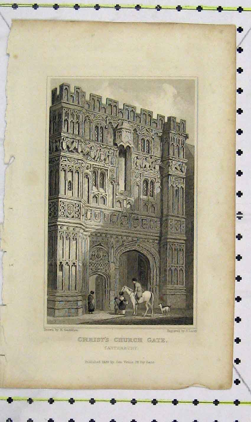 Print 1830 Lacey View Christ'S Church Gate Canterbury 127B226 Old Original