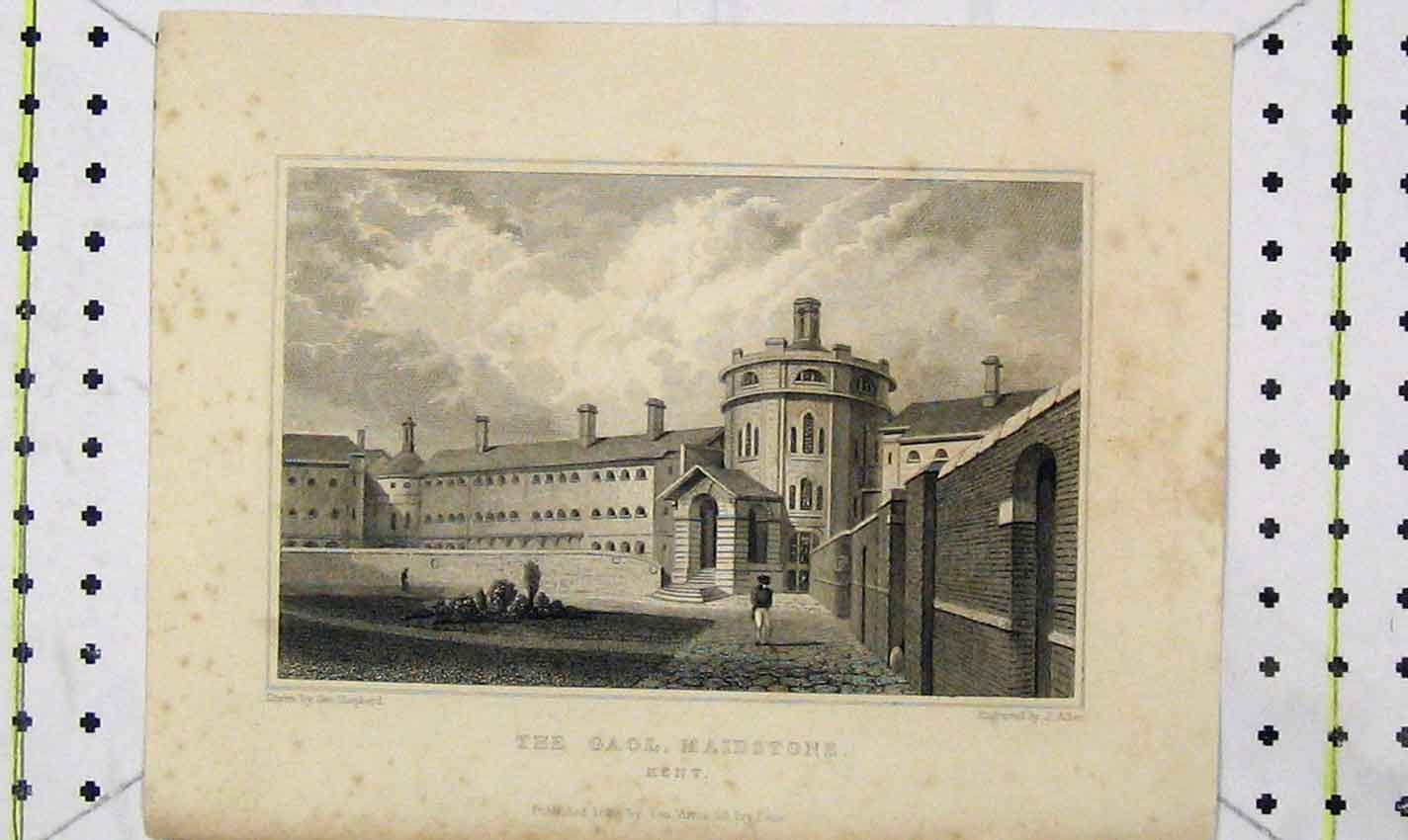 Print 1829 View Gaol Maidstone Kent Engraving Allen 146B226 Old Original