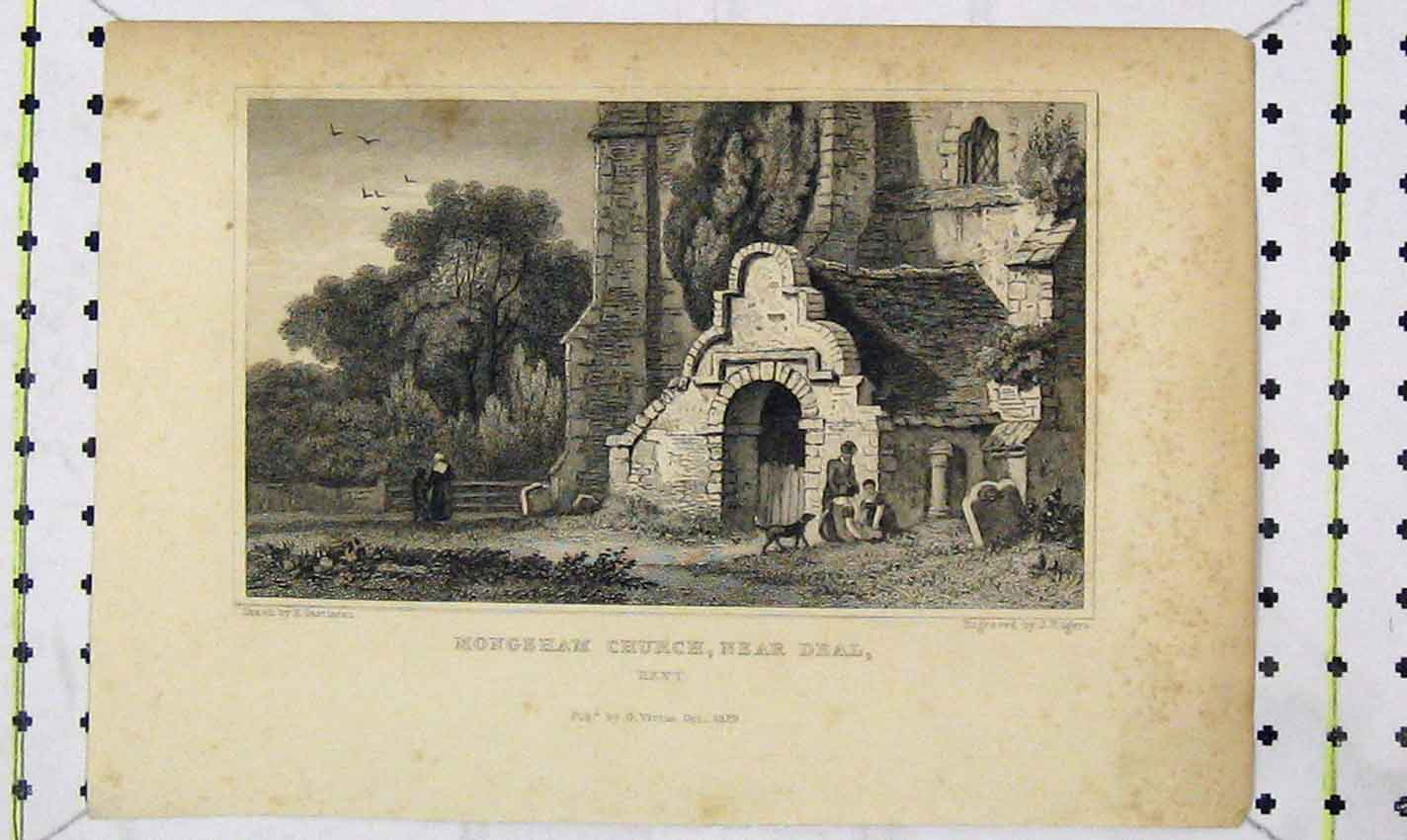 Print 1829 View Mongeham Church Deal Kent Engraving Rogers 148B226 Old Original