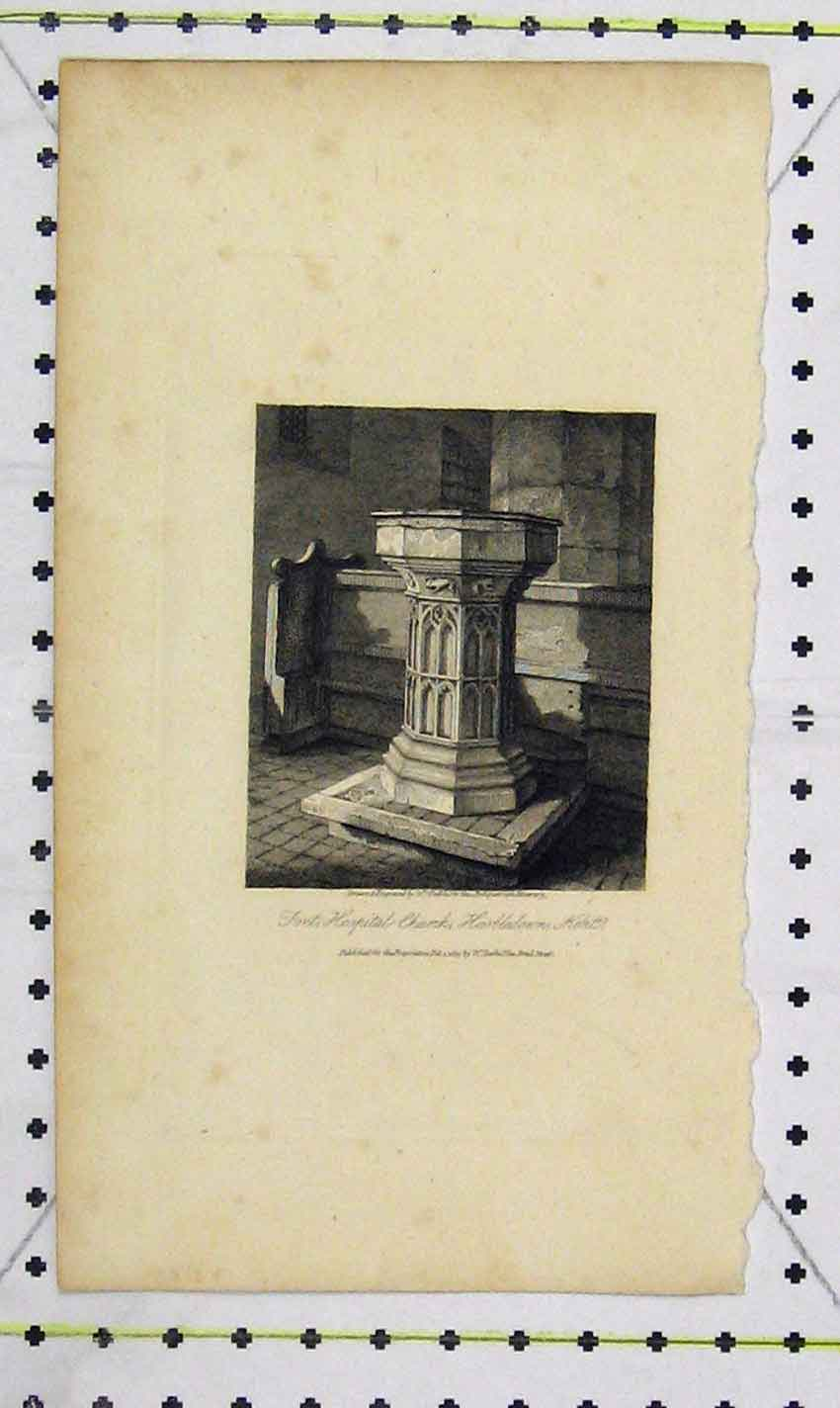 Print 1815 View Font Hospital Church Kent 151B226 Old Original