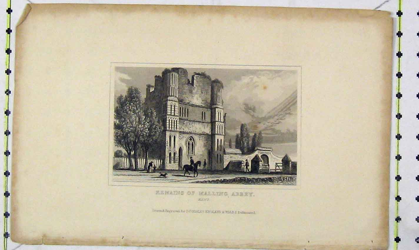 Print View Remains Malling Abbey Kent Dugdales 166B226 Old Original