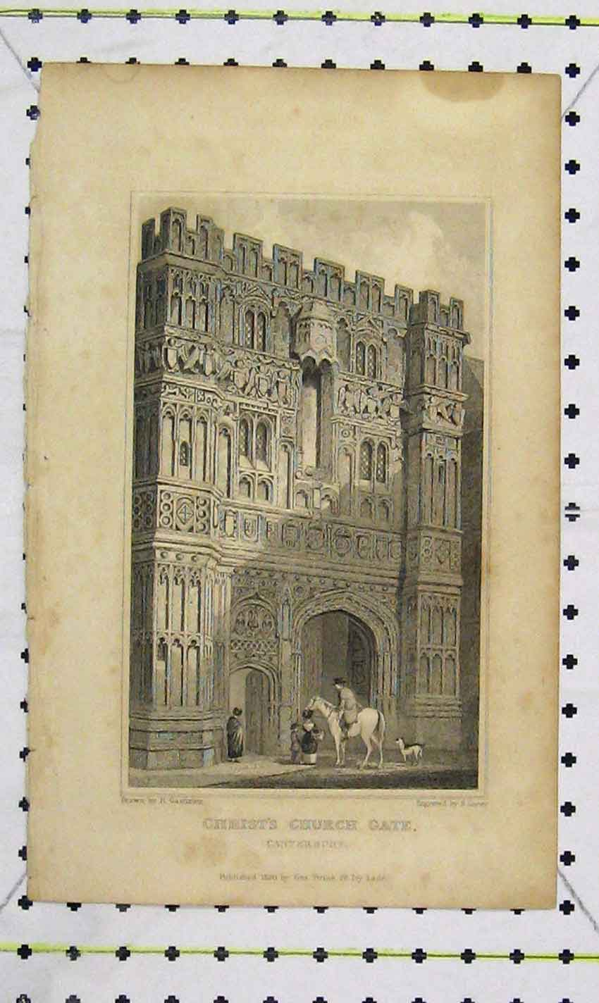 Print 1830 View Christ'S Church Gate Canterbury Lacey 173B226 Old Original