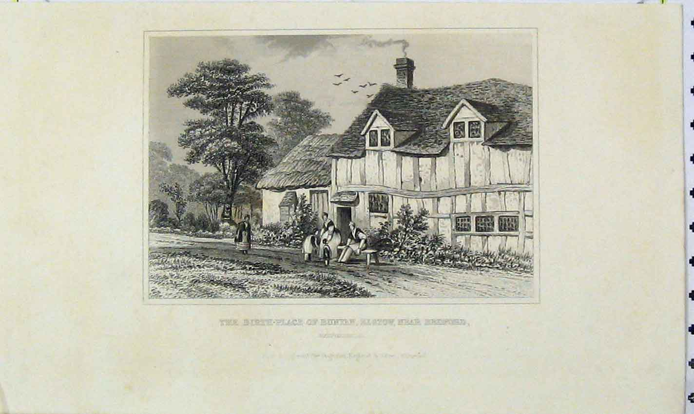 Print Birth Place Bunyan Elstow Bedford Bedfordshire 177B226 Old Original