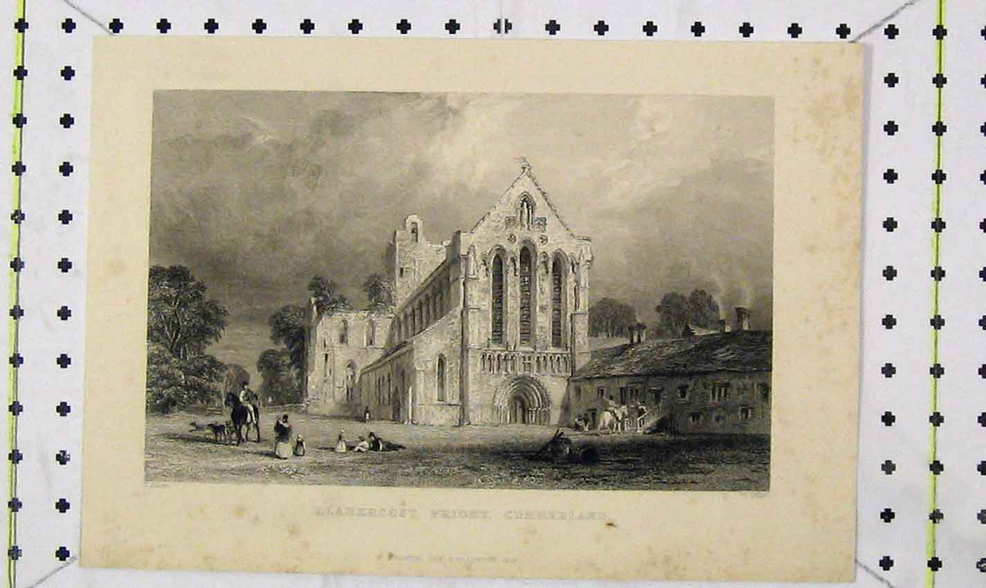 Print 1833 View Llanercost Priory Cumberland Miller 183B226 Old Original
