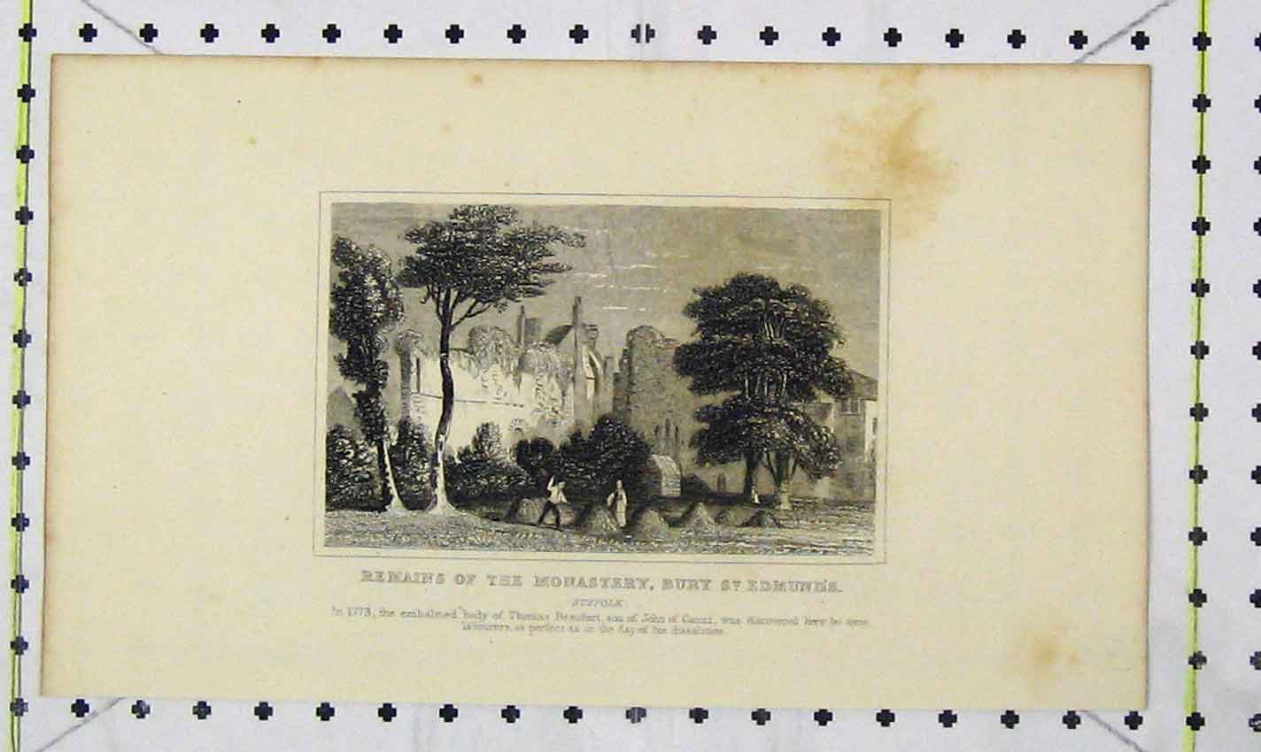 Print Remains Monastery Bury St Edmonds Suffolk Beaufort 185B226 Old Original