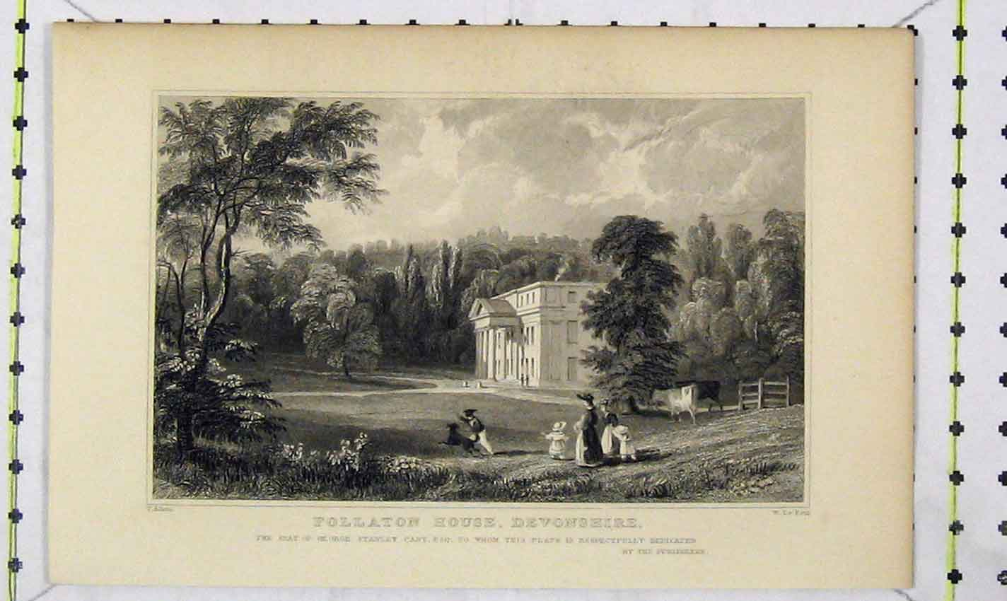 Print Follaton House Devonshire George Stanley Cary Petit 186B226 Old Original