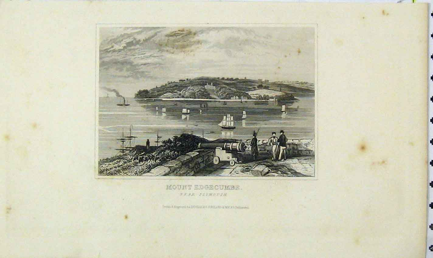 Print Dugdales View Mount Edgecumbe Plymouth Ships 193B226 Old Original
