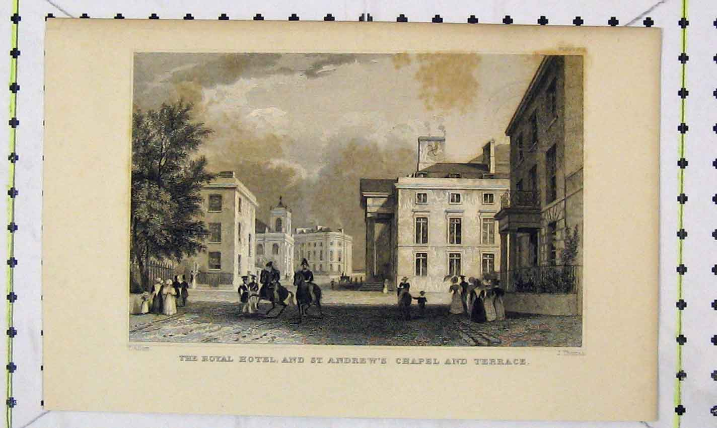 Print Royal Hotel St Andrew'S Chapel Terrace Engraving Thomas 201B226 Old Original
