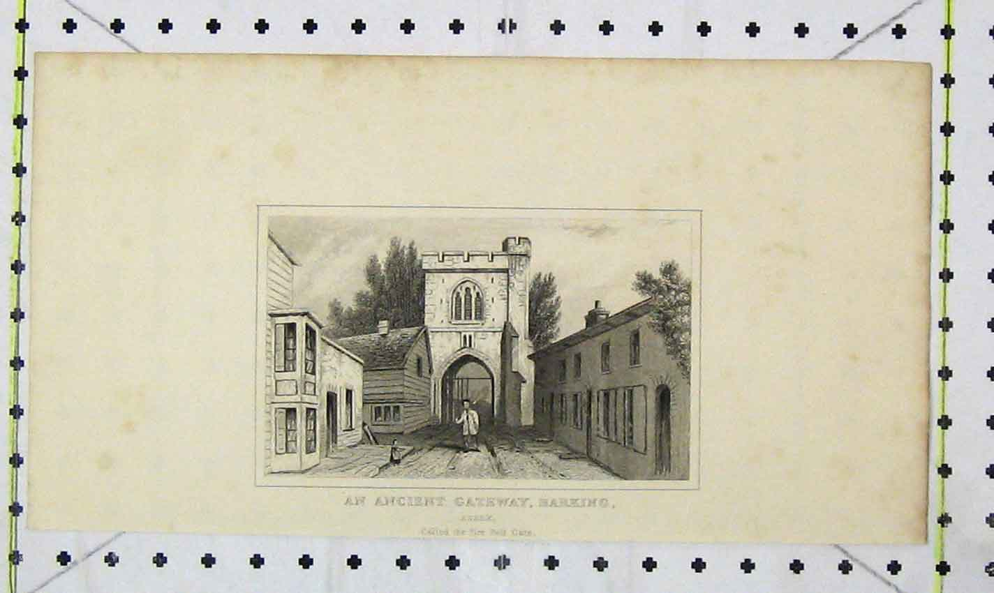 Print *0078 View Ancient Gateway Barking Essex Fire Bell Gate 204B226 Old Original