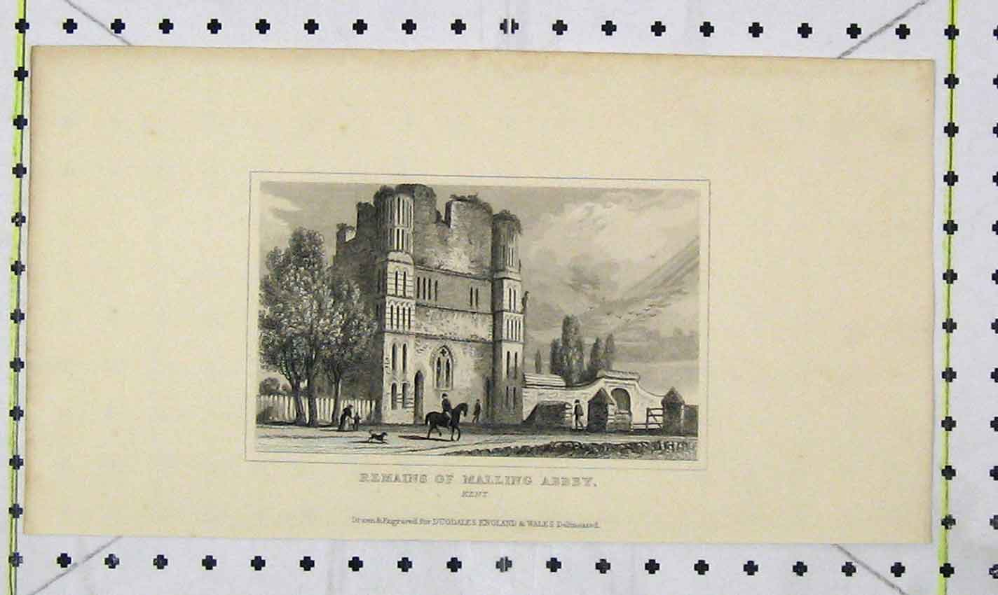 Print View Remains Malling Abbey Kent Dugdales Ref.2 205B226 Old Original