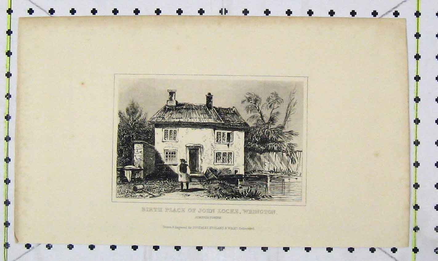 Print Birth Place John Locke Wrington Somersetshire Dugdale 206Ab226 Old Original