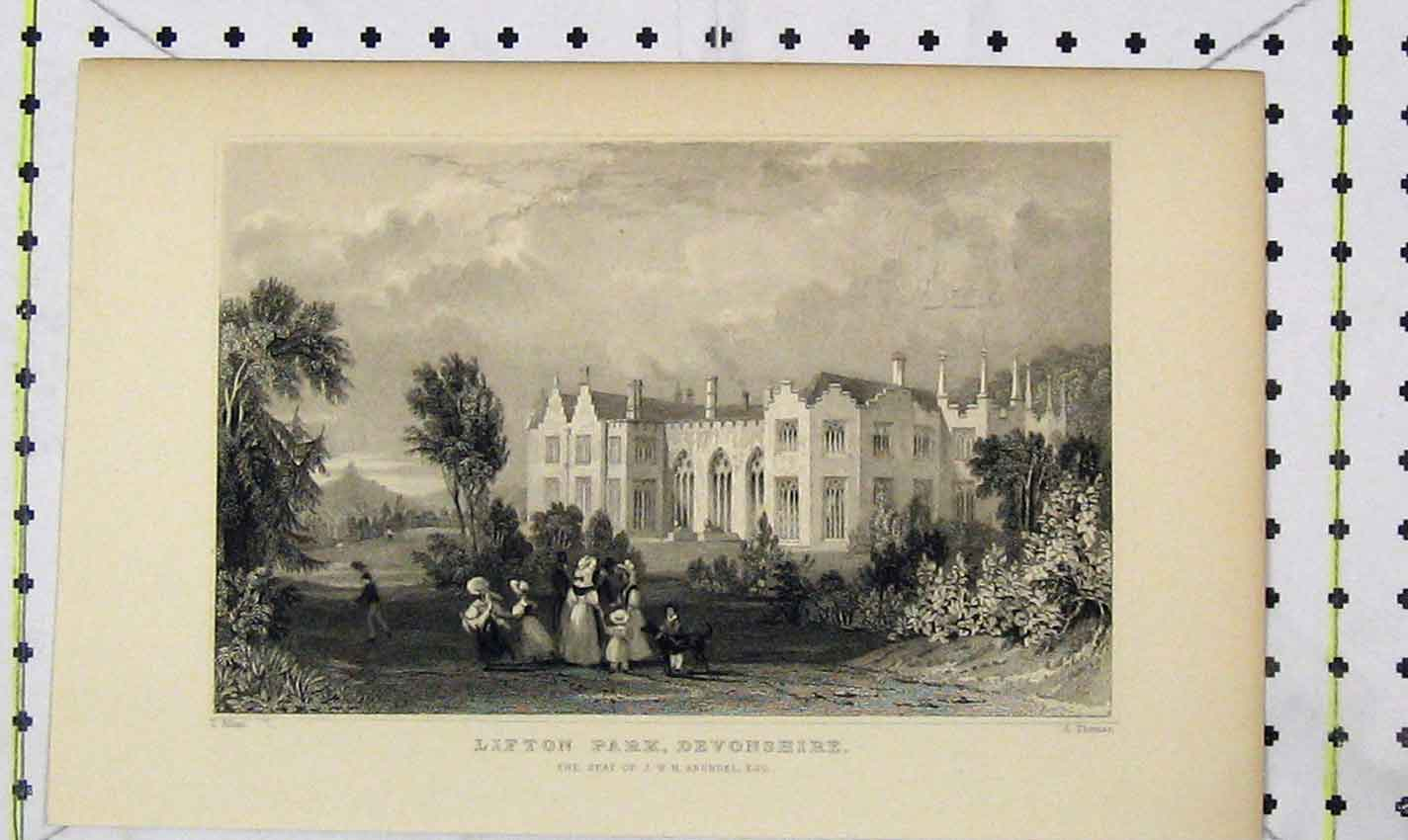Print View Lifton Park Devonshire Seat Arundel Thomas 208B226 Old Original