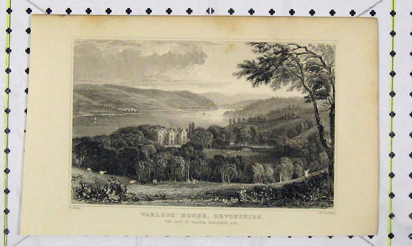 Print View Warlegh House Devonshire Walter Radcliffe Petit 221B226 Old Original