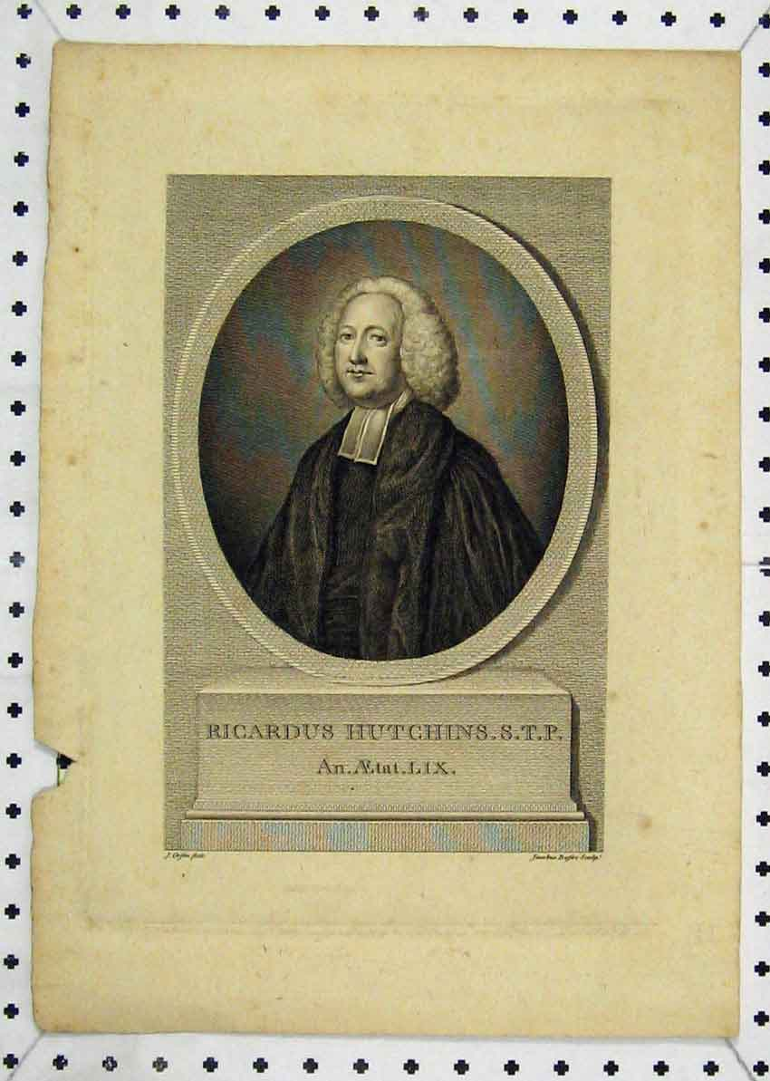 Print Portrait Ricardus Hutchins Engraving 117B227 Old Original