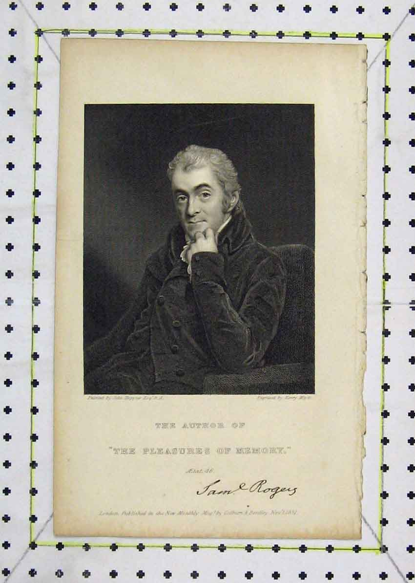 Print 1831 Portrait Sam Rogers Author Meyer 153B227 Old Original