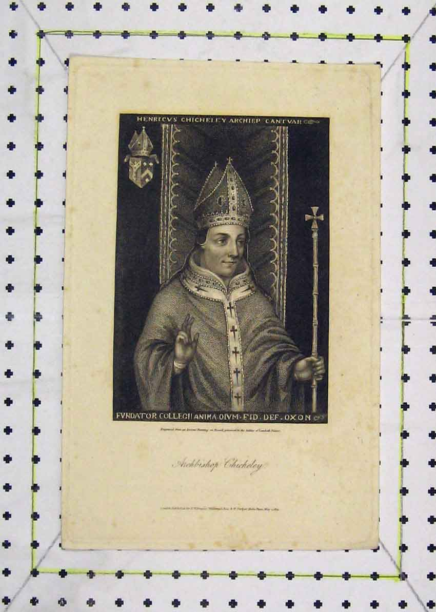 Print Portrait Archbishop Chicheley 1805 159B227 Old Original