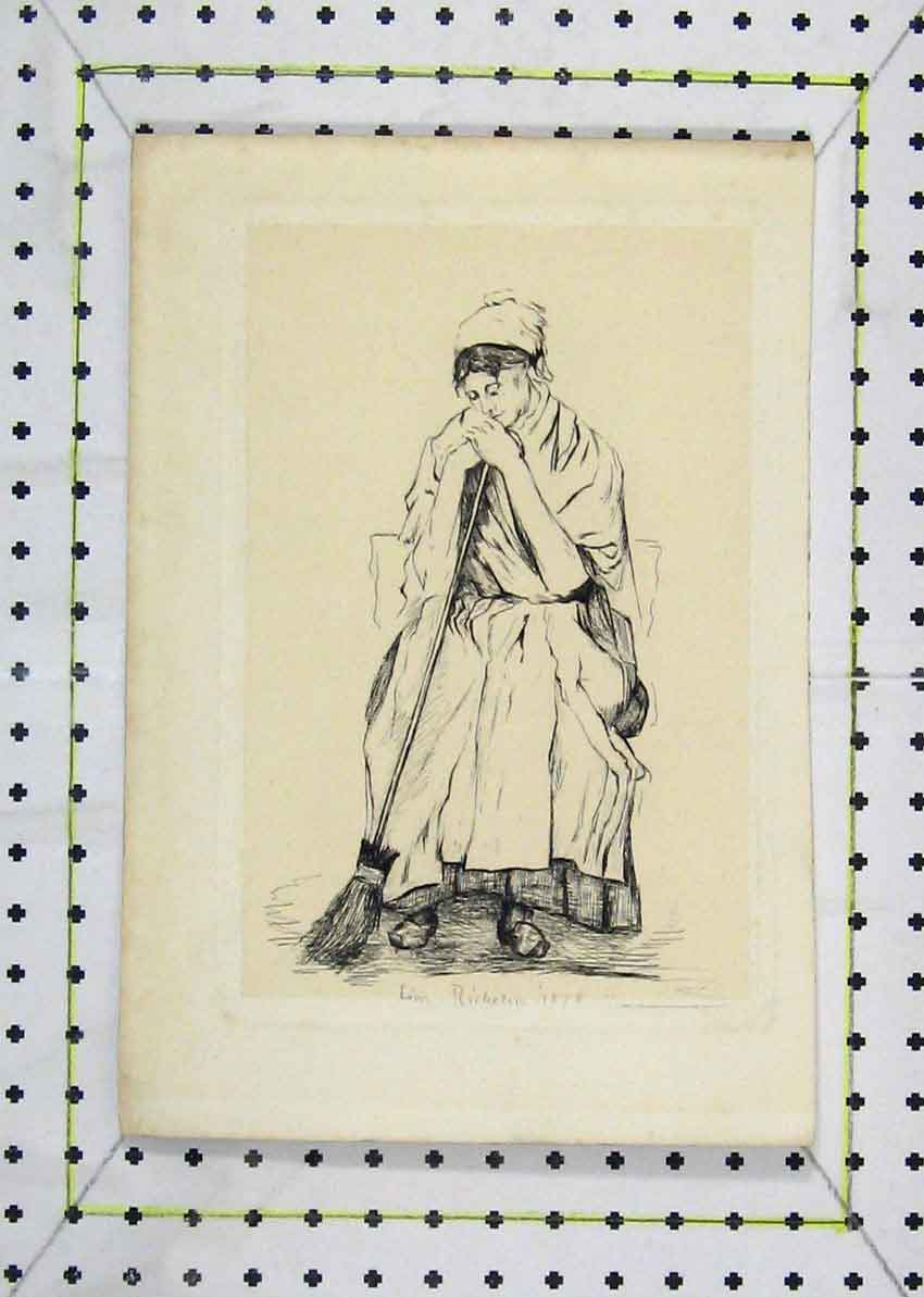 Print 1878 Drawing Cleaning Lady Sweeping Brush 165B227 Old Original