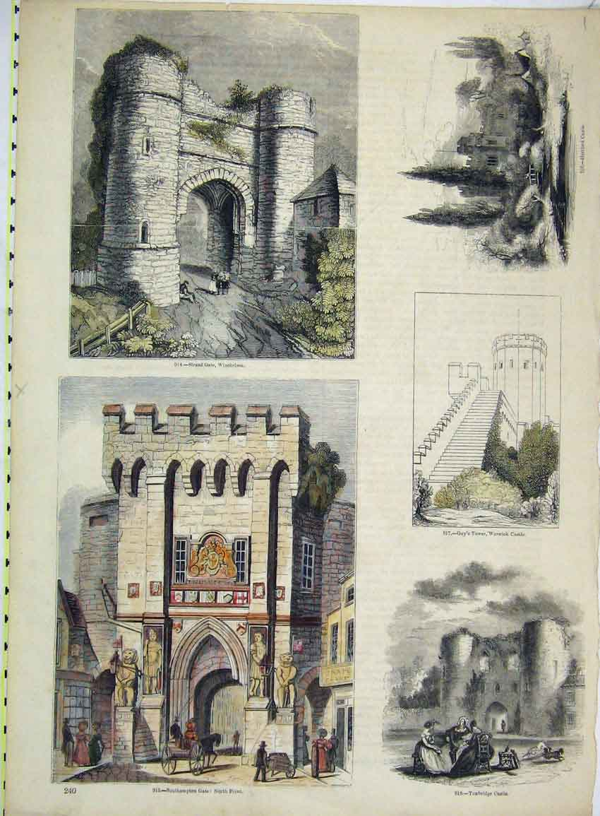 Print View Southampton Gate Strand Tunbridge Warwick Castle 201B228 Old Original