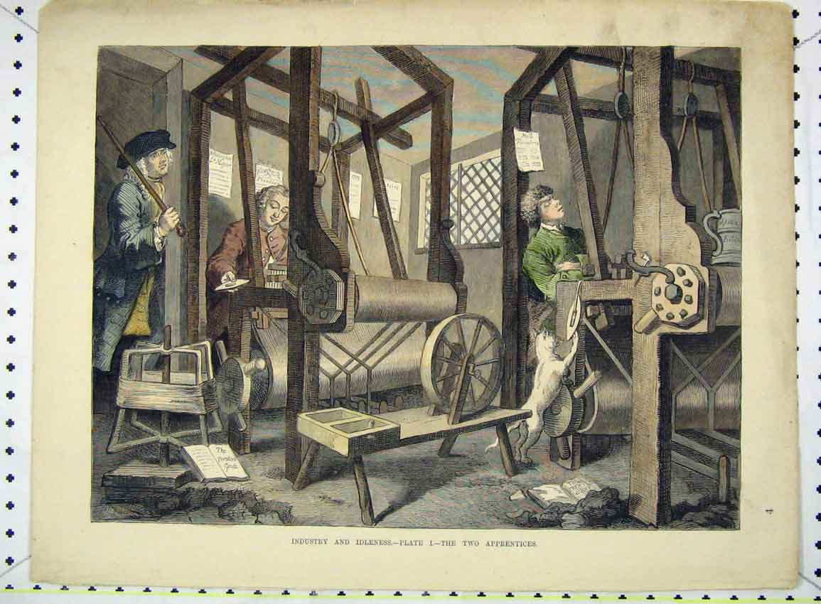 Print Colour View Industry Idleness Apprentices Machine 216B228 Old Original