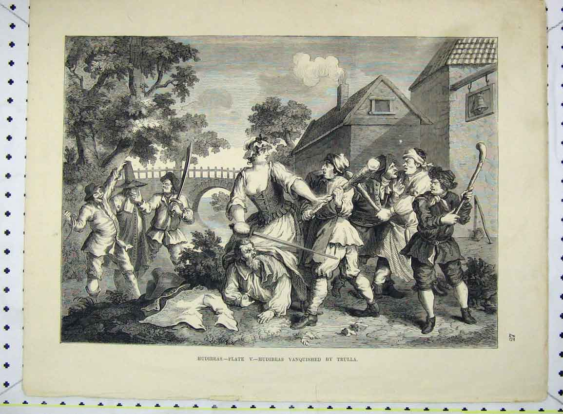 Print Scene Hudibras Vanquished Trulla Fighting 257B228 Old Original