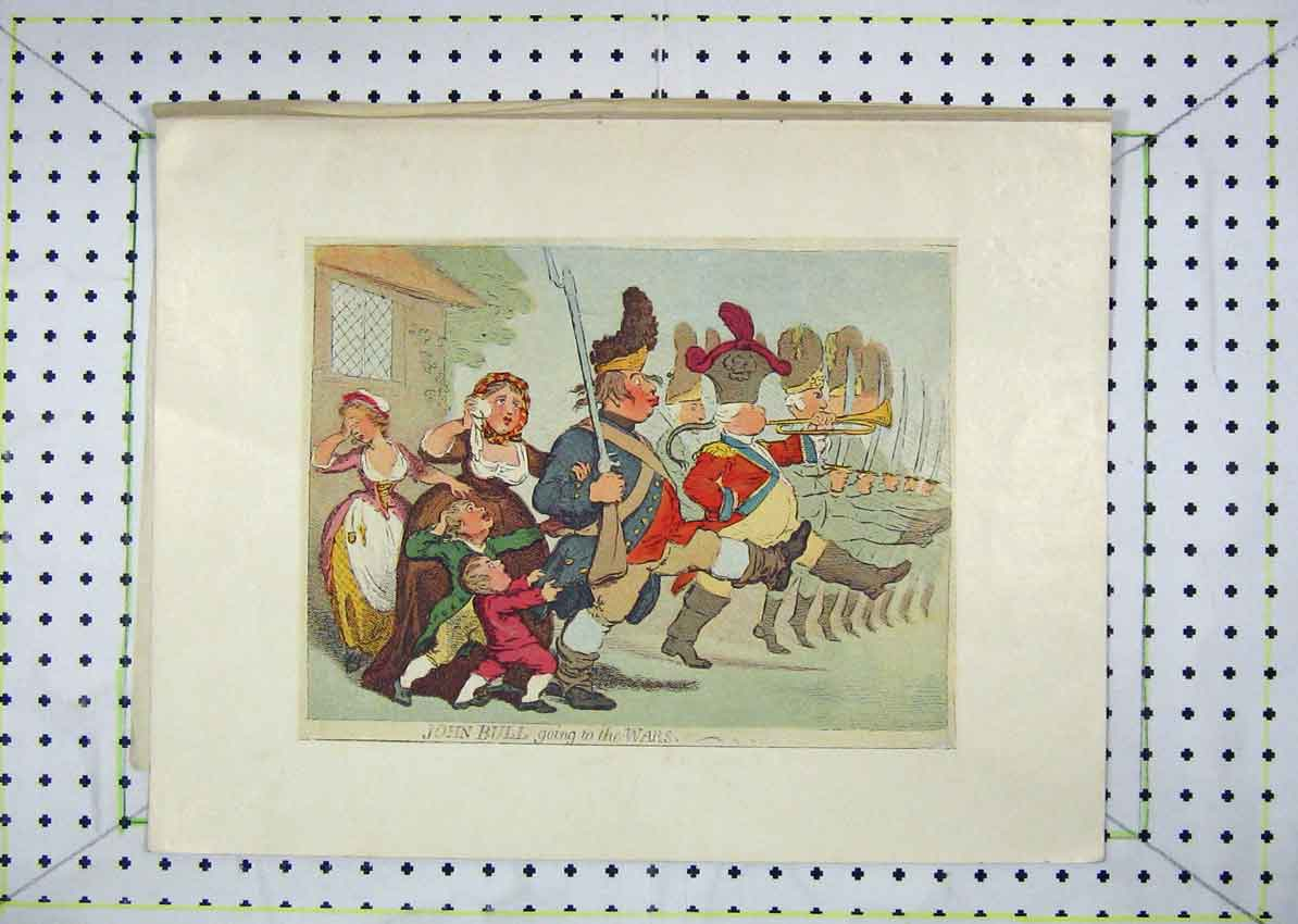 Print Colour Cartoon John Bullgoing War March 103B229 Old Original