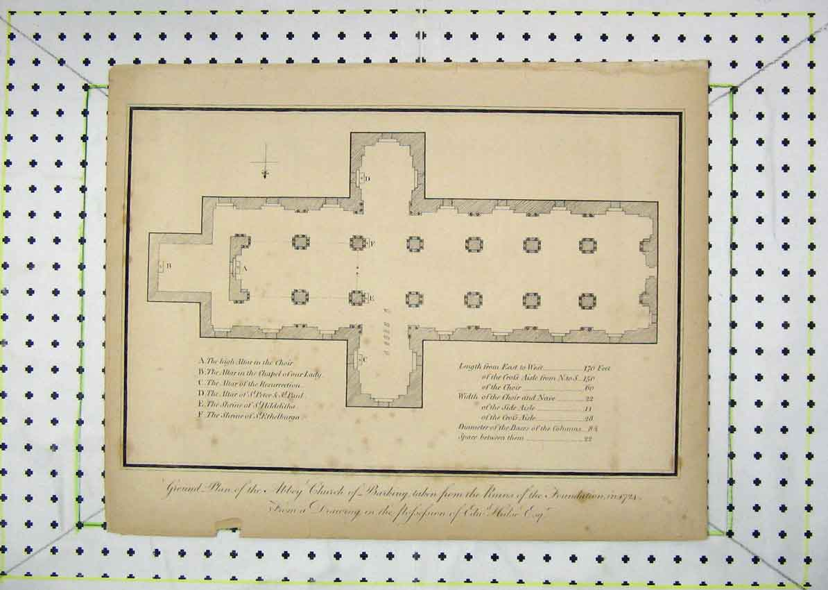 Print 1724 Ground Plan Abbey Church Berking Ruins Foundation 104B229 Old Original