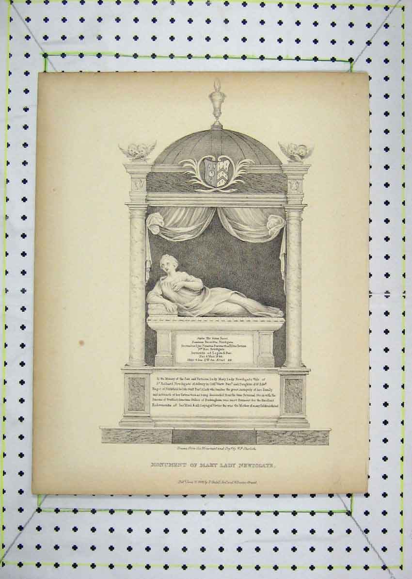 Print 1800 View Monument Mary Lady Newdigate 109B229 Old Original