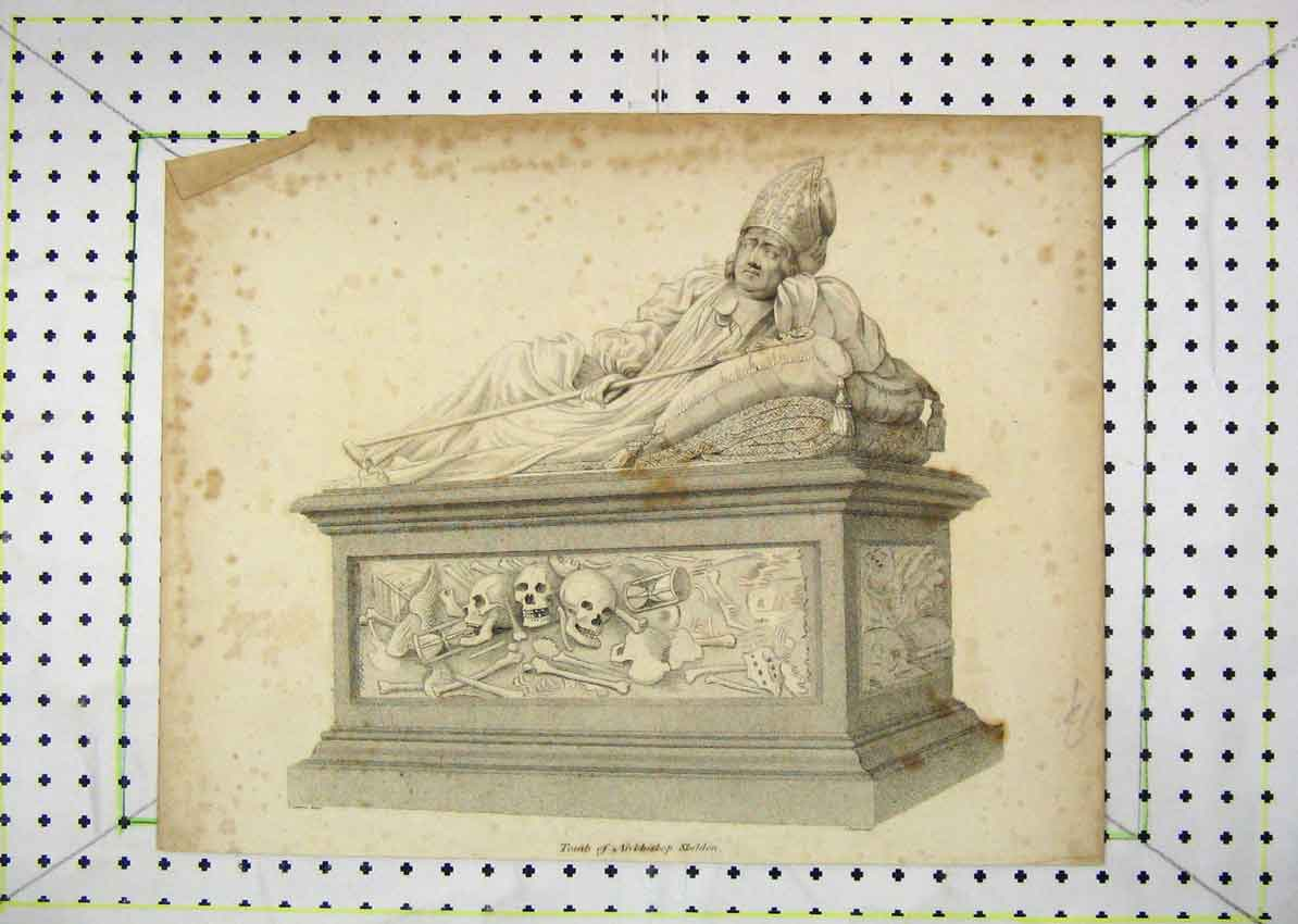Print View Tomb Archbishop Sheldon Knight 111B229 Old Original