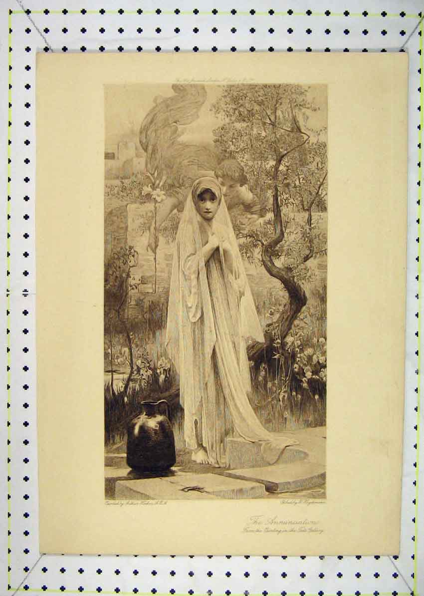 Print Sepia Annunciation Tate Gallery Heydemann 125B229 Old Original