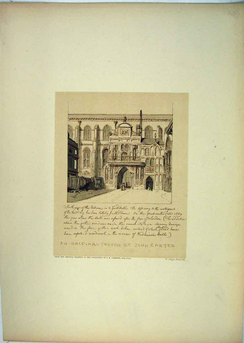Print South View Entrance Guildhall Carter 143B229 Old Original