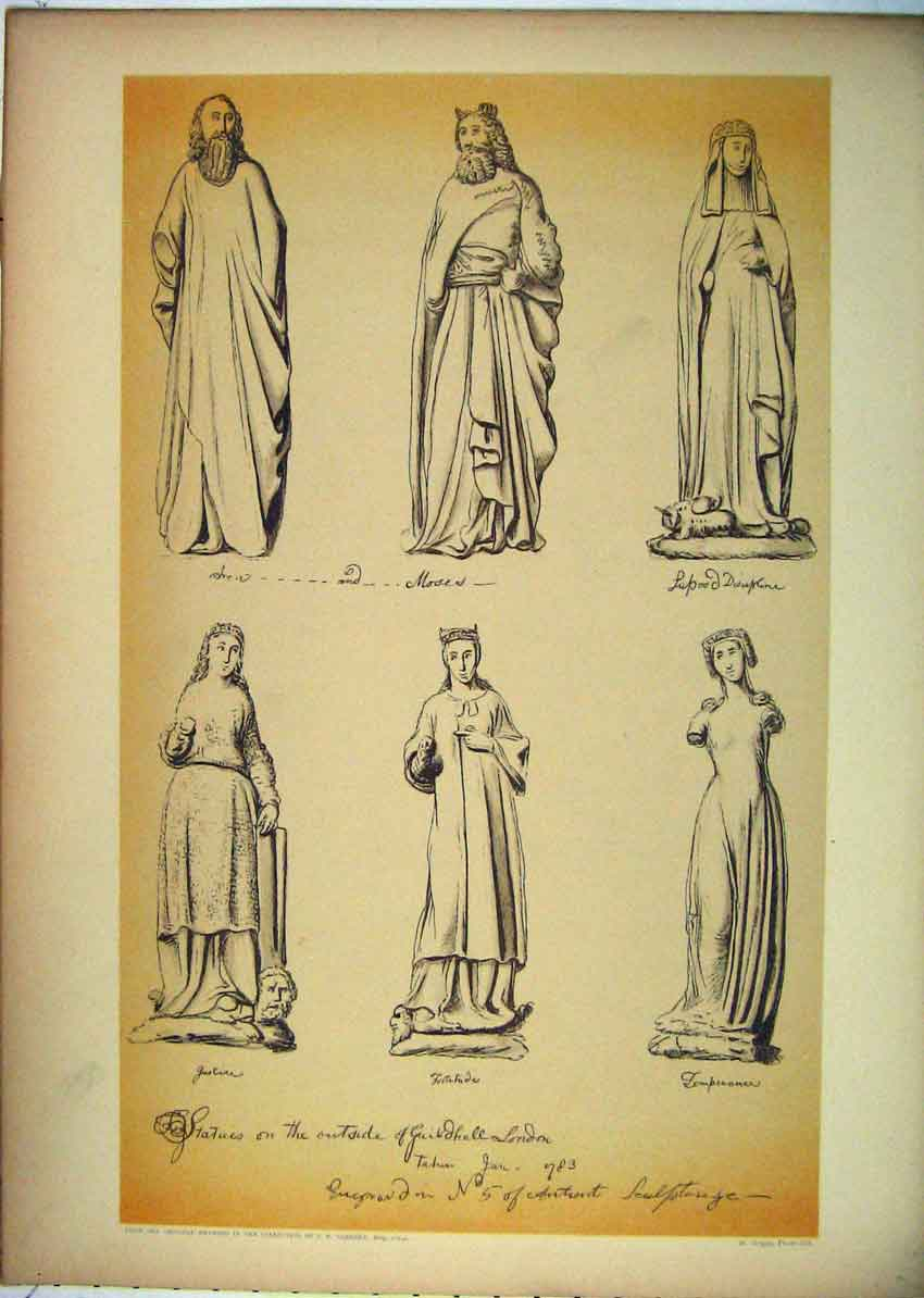 Print Statues Guildhall London Moses Temperance 144B229 Old Original