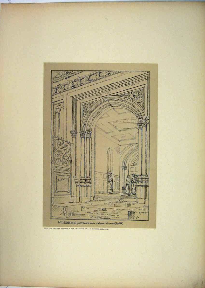 Print 1815 View Guildhall Courts Law Entrance 145B229 Old Original
