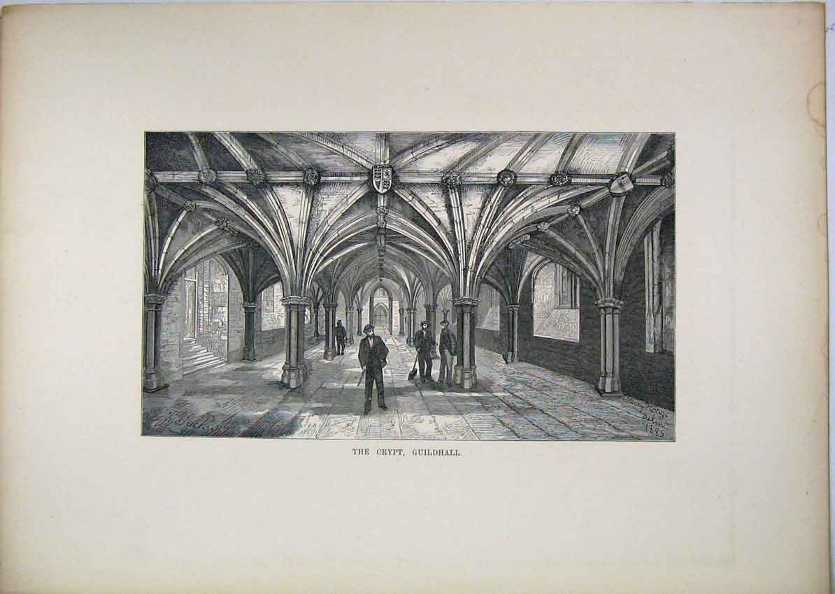 Print View Crypt Guildhall London Men Working 147B229 Old Original