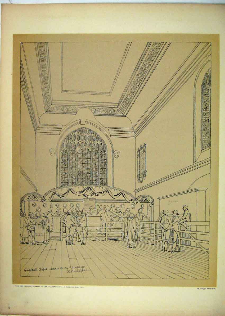 Print 1815 View Guildhall Chapel Court Requests 149B229 Old Original