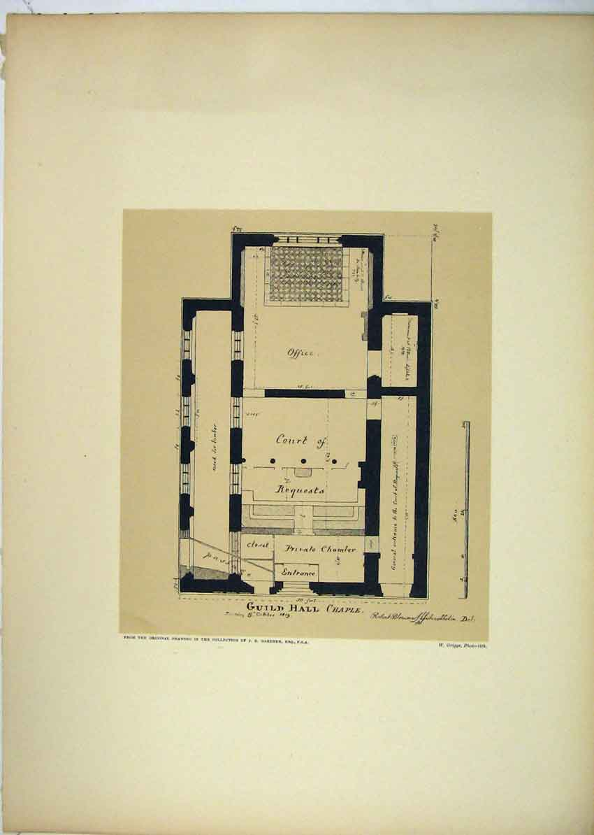 Print 1819 View Plan Guildhall Chapel London 150B229 Old Original