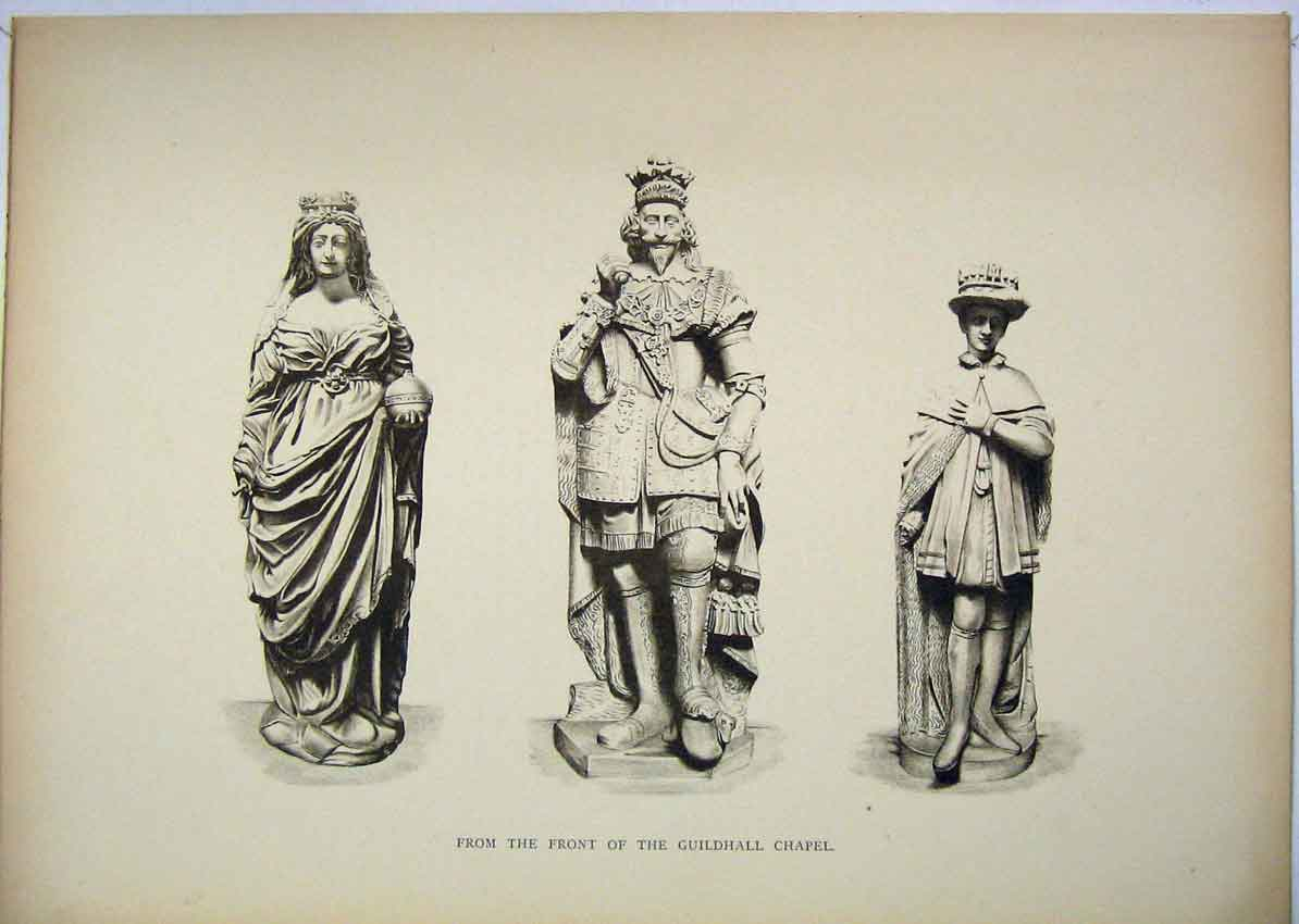 Print Statues Front Guildhall Chapel London 151B229 Old Original