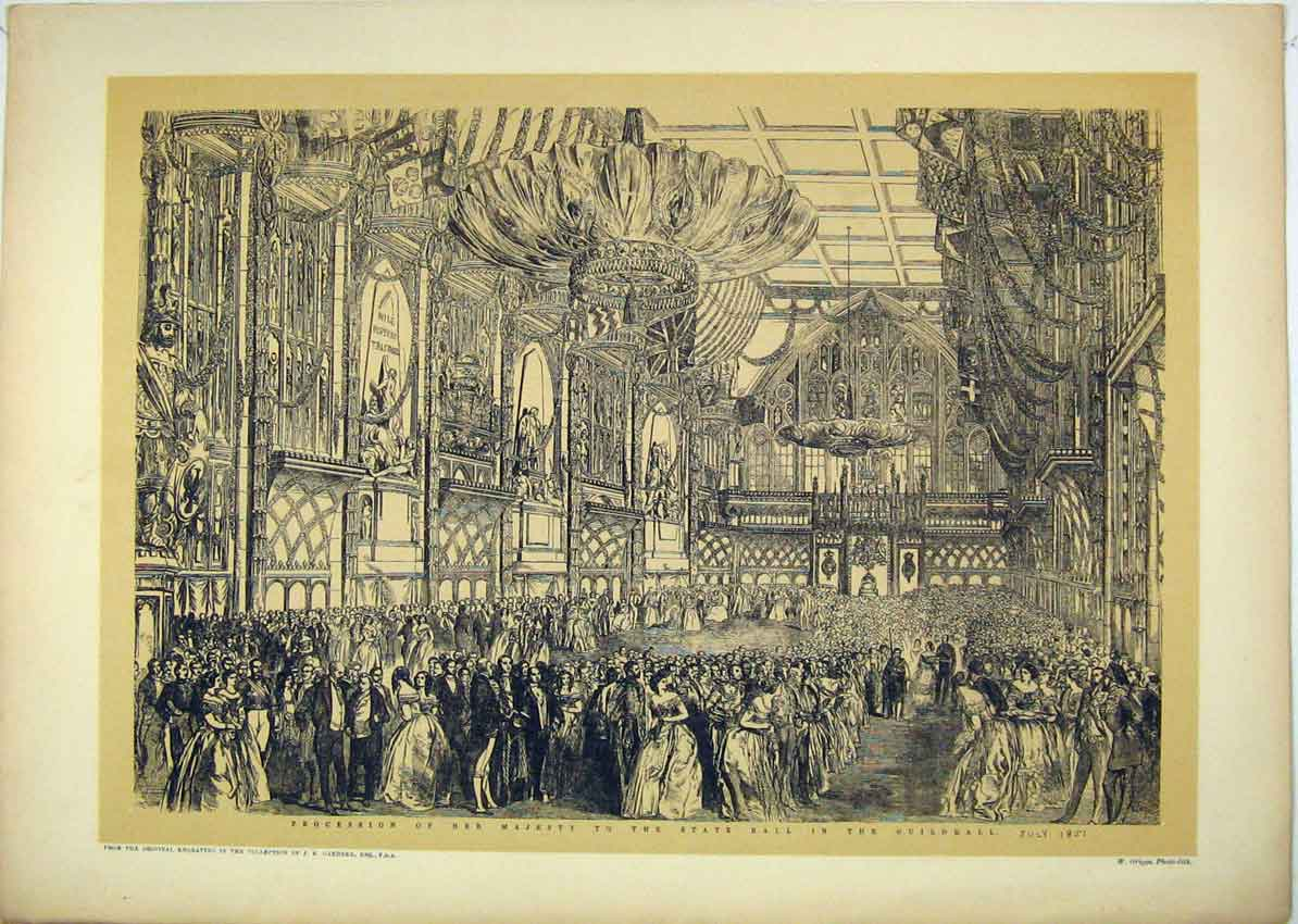 Print 1851 Procession Queen State Ball Guildhall Dance 152B229 Old Original