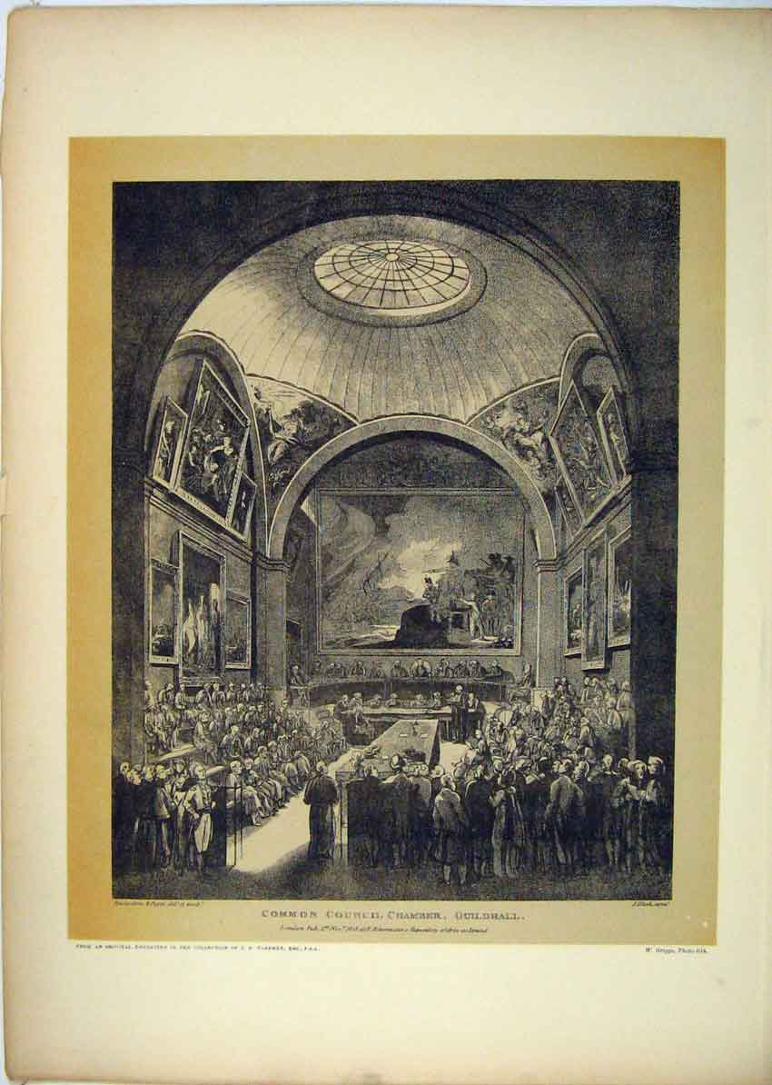 Print 1808 Common Council Chamber Guildhall 153B229 Old Original