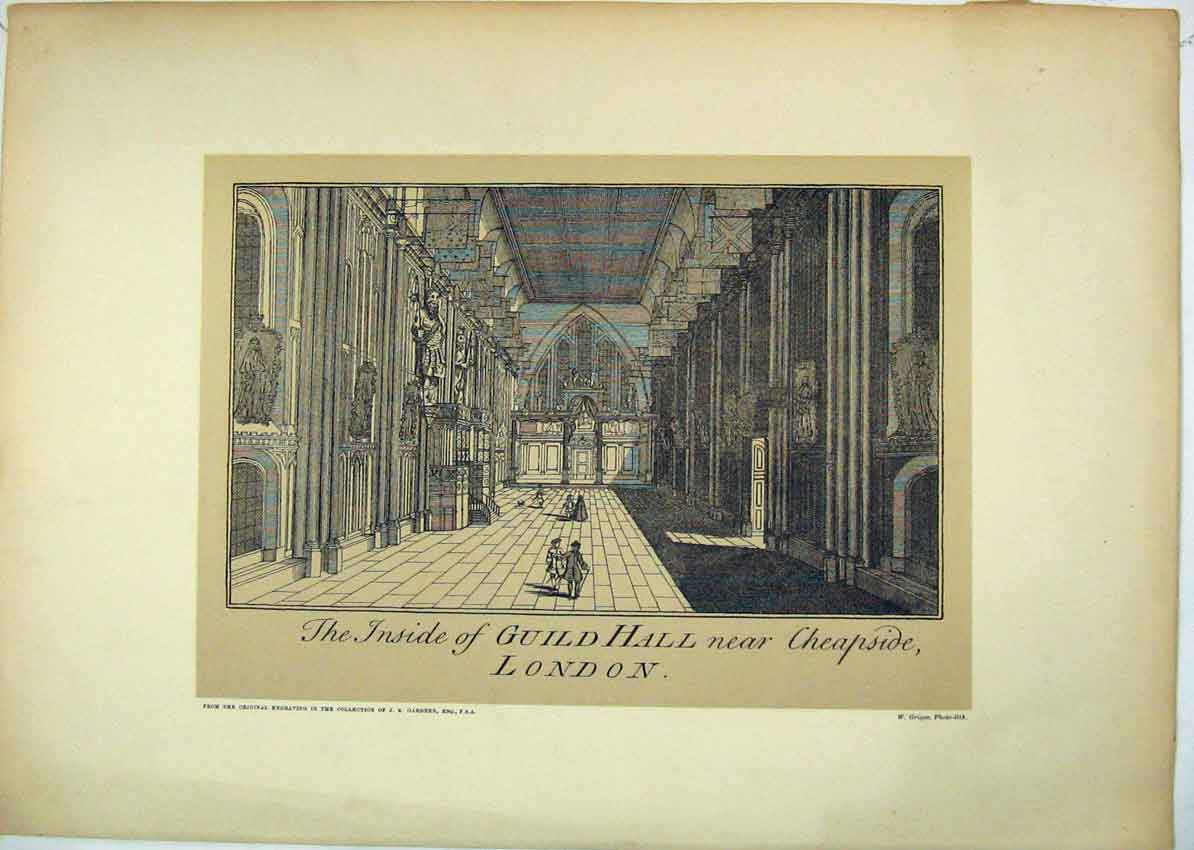 Print Interior View Guildhall Cheapside London 154B229 Old Original