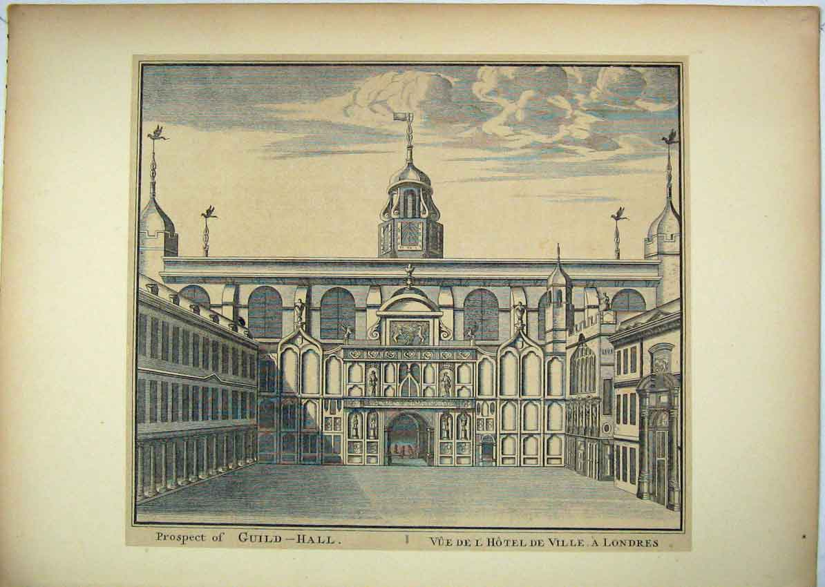 Print View Prospect Guildhall London Hotel 156B229 Old Original