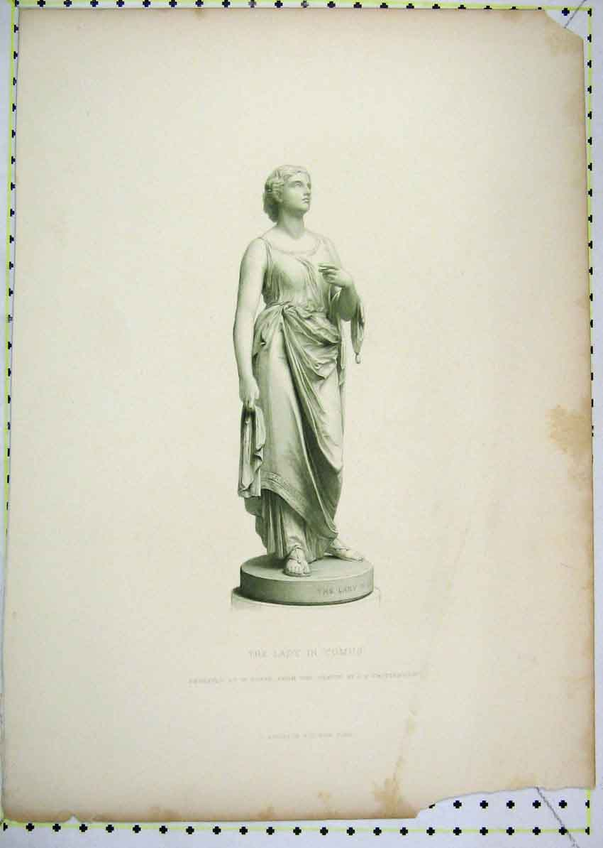Print Statue Lady Comus Engraved Roffe 158B229 Old Original