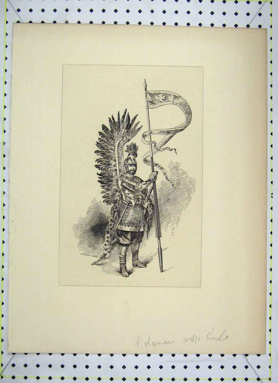Print Soldier Uniforn Feathers Spear Flag 321B230 Old Original