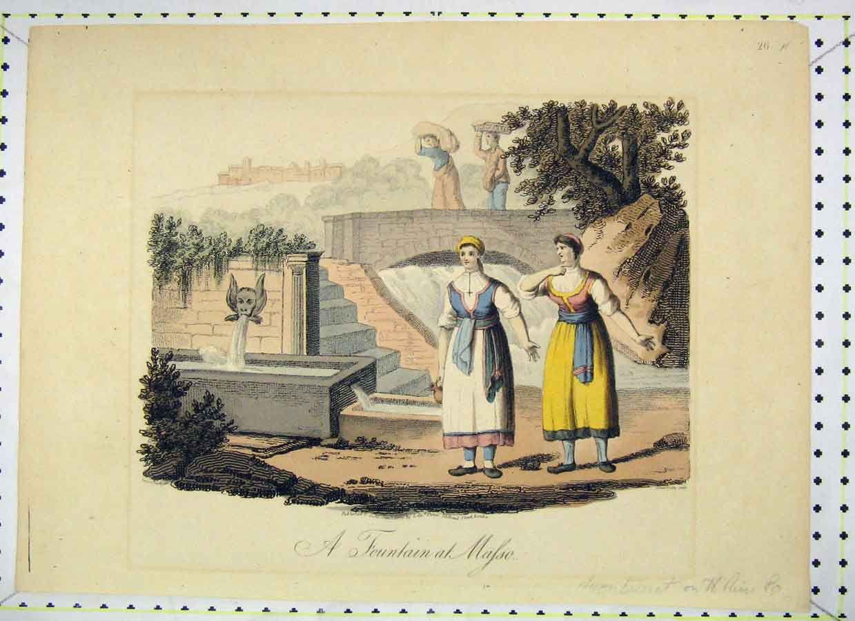 Print Colour Scene Fountain Masso Montserrat Women 325B230 Old Original