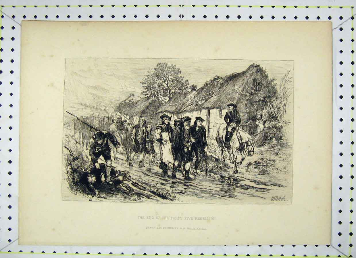 Print Village Scene End Forty Five Rebellion 338B230 Old Original