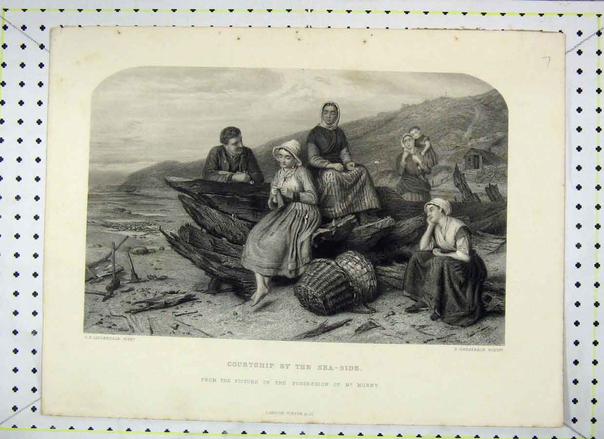 Print Courtship Sea-Side Romance Greatbach 364B230 Old Original