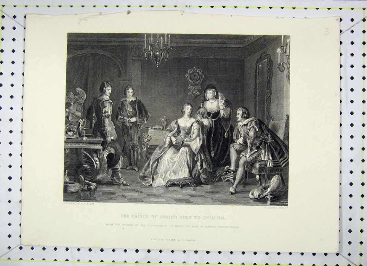 Print Scene Prince Spain Visit Catalina Lewis Engraving 382B230 Old Original