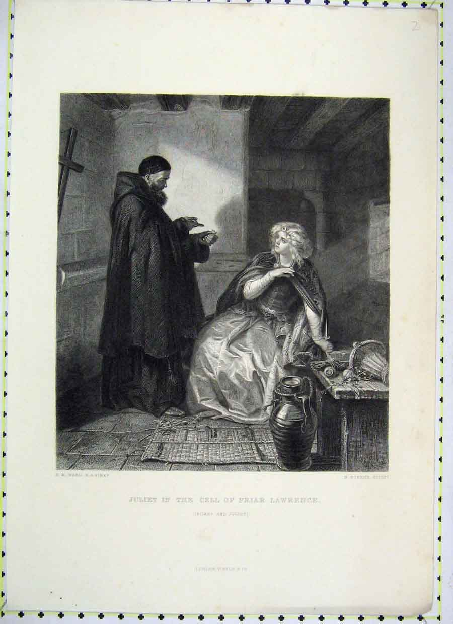 Print Scene Juliet Cell Friar Lawrence Romeo Bourne 394B230 Old Original