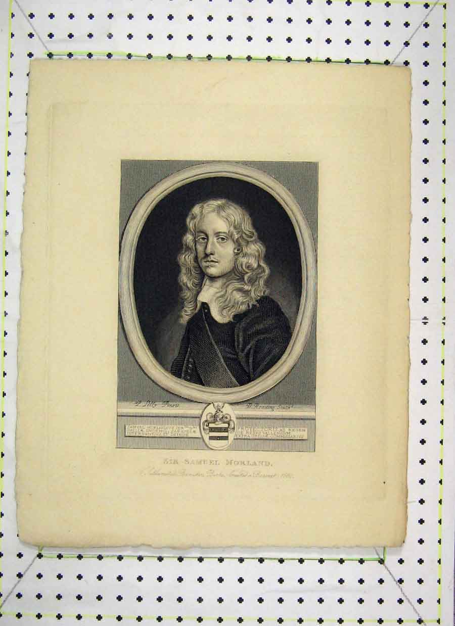Print Portrait Sir Samuel Morland Reading 425B230 Old Original